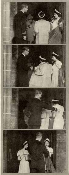 1946: The infamous coat removal that cued the media that Elizabeth II & Philip were secretly dating. At their cousin Patricia Mountbatten's wedding, Prince Philip helps Princess Elizabeth with her coat as her sister Princess Margaret watches. Both princesses were bridesmaids at the wedding.