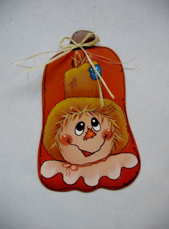 Scarecrow and Pumpkin Tole Painted Magnet by barbsheartstrokes,