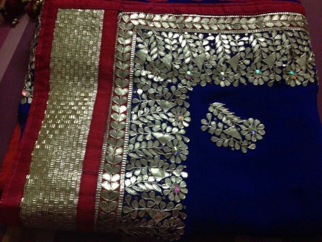 Desindezi designing boutique#gotta patti work#royal blue#saree#redborder#designed#: