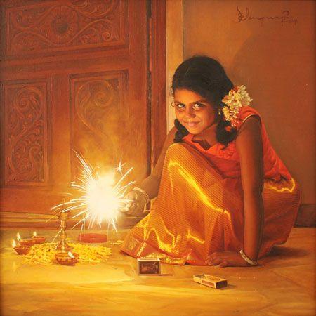 Tamil girl bursting crackers on Deepavali festival - Painting by S. Elayaraja