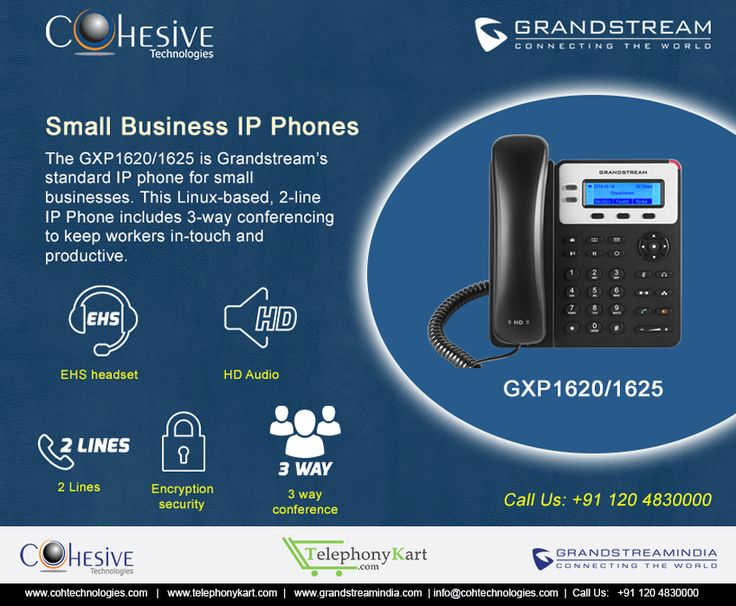 The GXP1620/1625 is Grandstream's standard IP phone for small businesses. This Linux-based, 2-line IP Phone includes 3-way conferencing to keep workers in-touch and productive.
