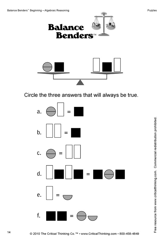 Critical thinking puzzles for teenagers & How Will a