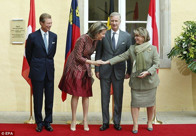 Pictured above from left to right: Luxembourg Grand Duke Henri, Queen Mathilde of Belgium, King Philippe of Belgium and Luxembourg Grand Duchess Maria Teresa