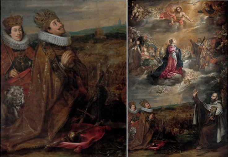 Antonín Stevens ze Steinfelsu - Oltářní obraz pro kostel P. Marie Vítězné na Malé Straně v Praze (v levém dolním rohu klečí císař Ferdinand II. Štýrský a jeho syn, pozdější císař Ferdinand III.)
