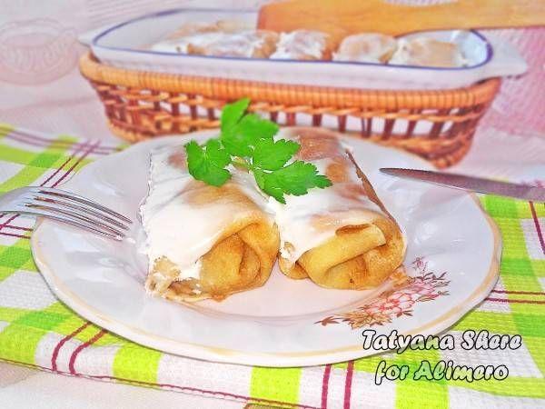 Блинчики с грибами и сыром запеченные в духовке / Рецепты с фото