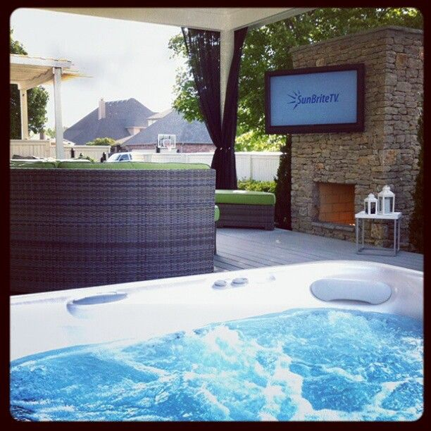 Nice place to enjoy an outdoor tv photo courtesy erik of Hot tubs tulsa