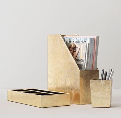 Rh Teen S Metallic Leather Desk Accessories The Luxury Of