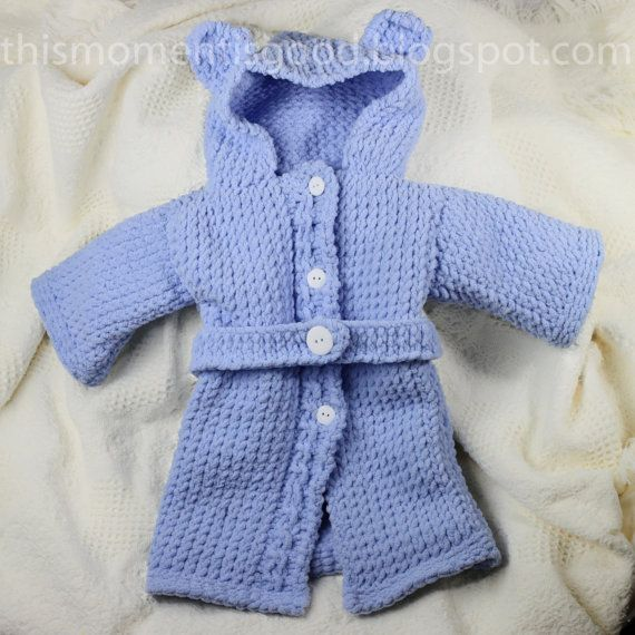 Knitting Pattern For Baby Teddy : Loom Knit Baby Bathrobe PATTERN. Spa Quality and Teddy Bear Themed! Pattern i...