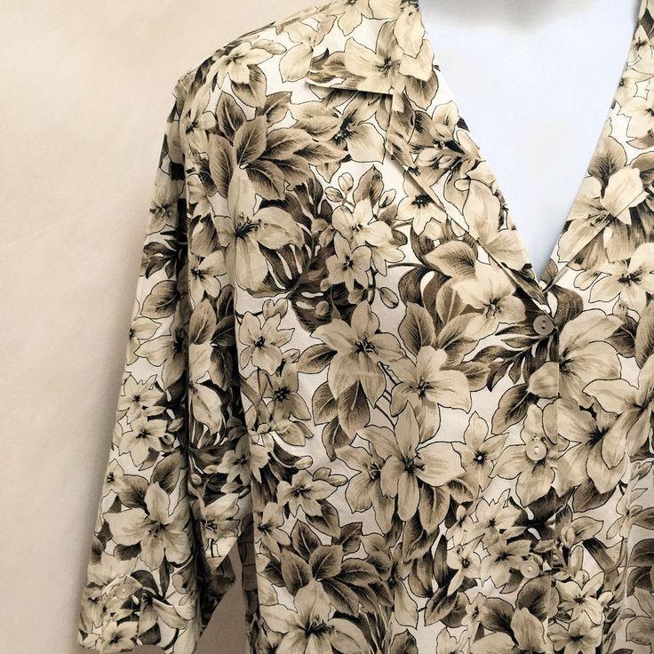 Plus Size Hawaiian Shirt 3X Brown Floral Tropical 3/4 Sleeve Button Top #CathyDaniels #ButtonDownShirt #Casual