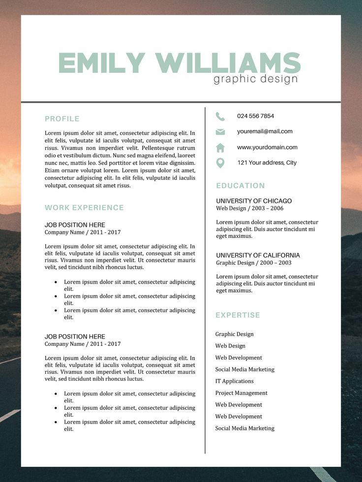 Color resume template best cv design emily williams