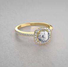 0.66gkt Halo Diamantring mit Pavé-Fassung aus 14kt Gelbgold