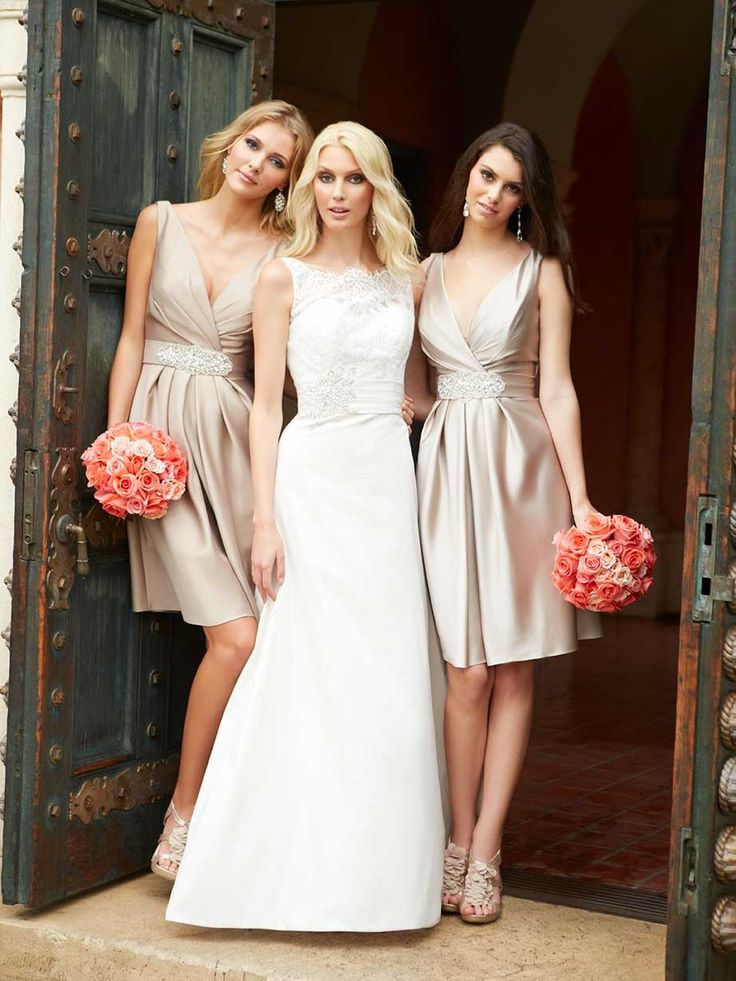 Coral rose bouquets and champagne bridesmaids dresses   | Dream wedding and wedding themes at EventDazzle.com