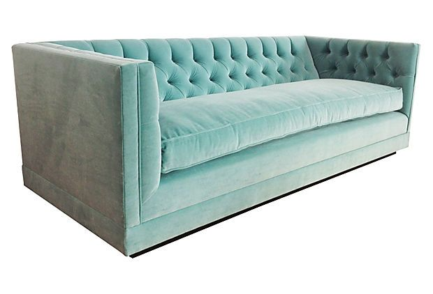 "Kim Salmela (California designer) Draper 88"" Sofa"", Tiffany Blue on OneKingsLane.com"