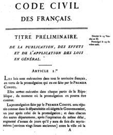 Première page de l'édition originale du code civil de 1804