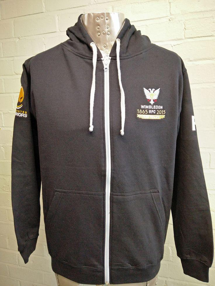 Sponsorship logo hoodies for Wimbledon RFC Tour Squad 2016. Embroidered logos and printed custom design.