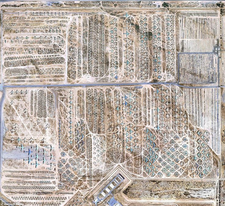 The Boneyard is a 2,600 acre patch of land at Davis-Monthan Airforce Base in Tucson, AZ. where several generations of military aircraft are stored. Some planes are merely stored at the base between deployments, but for more than 80 per cent of the 4,200 aircraft that call it home, it is a cemetery of steel - 350,000 items to be called on when needed.The $35billion worth of outdated planes is kept as spare parts for current models. via dailymail.co.uk #Aircraft #The_Boneyard #Arizona…