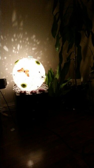 My cotton ball lamp