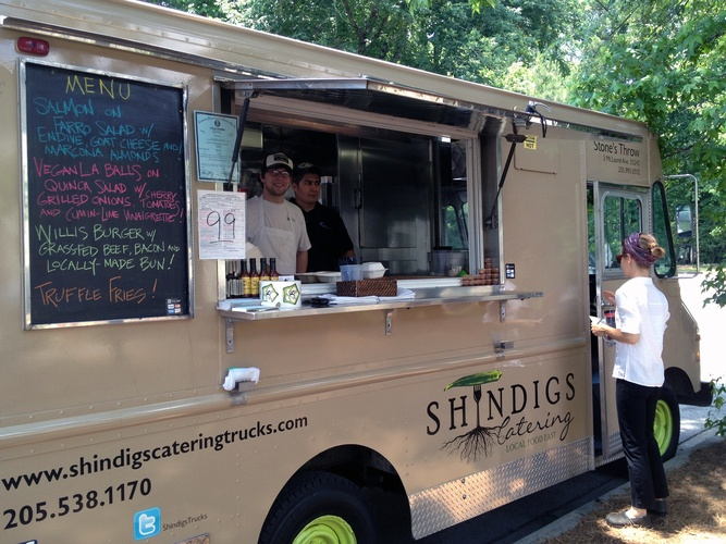 The crew of Shindigs sets up shop in a parking lot in Birmingham.