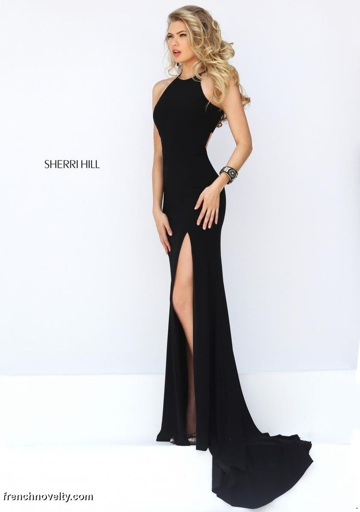 Size 2 Black, Sherri Hill 32340 is a sleeveless high neck long prom dress with cutout back. *SOLD, Call For Availability*
