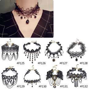 Barato Vitoriano gótico Borla Cristal Colar Gargantilha de Tatuagem Black Lace Gargantilha Colar Vintage Jóias de Casamento Das Mulheres, Compro Qualidade Pingente Colares diretamente de fornecedores da China: Gothic Punk Black Velvet Chunky Suede Choker Necklace Women Collar Collette Bib Statement Black Chain Necklace JewelryUS