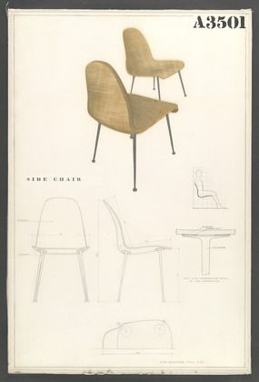 Charles Eames and Eero Saarinen. Competition Drawing for a Side Chair. 1940