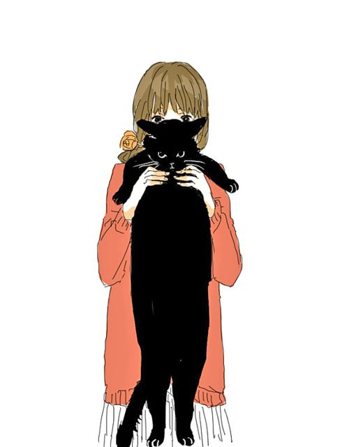 a girl and black cat ilustration