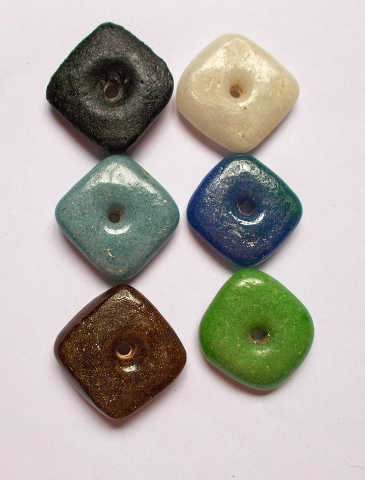 African Square Recycled Glass Beads 3cm approx Pack of 2 - Fair Trade from Mzuribeads Uganda by NomvulaCrafts on Etsy