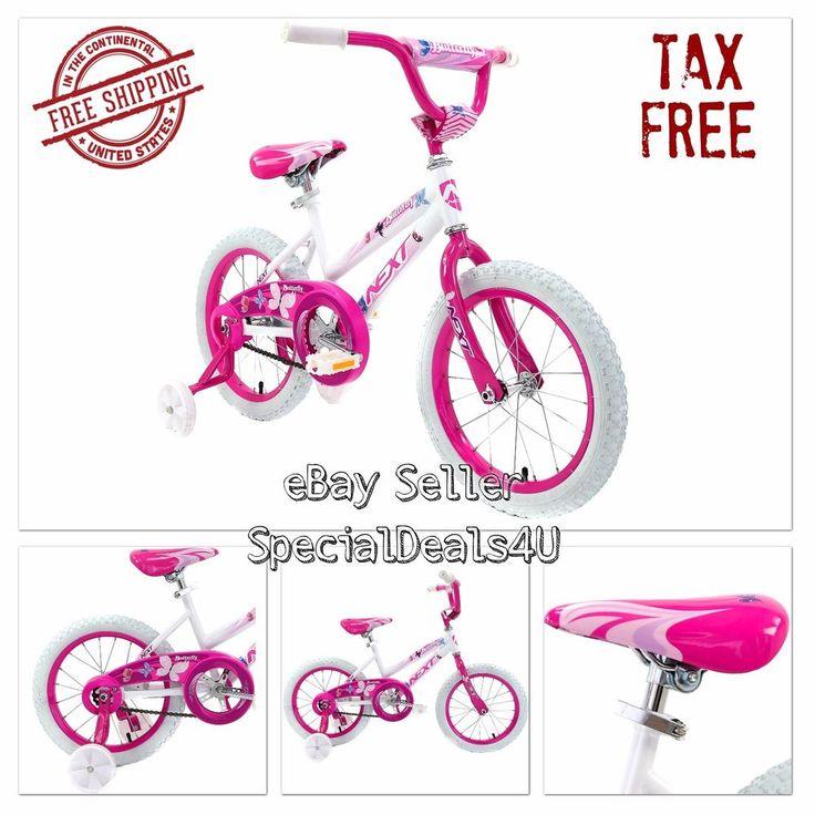 "Girl Bike 16"" Bikes White Bicycles BMX Training Wheels Kids Bicycle Play Pink #NextBicycles"