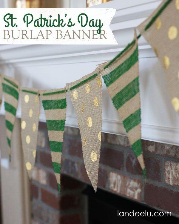 Painted Burlap Banner: St. Patrick's Day Decor