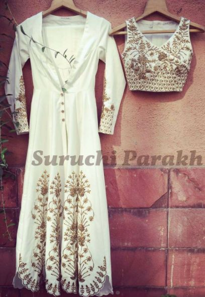 Gorgeous handwork crop top paired with buttoned down anarkali by Suruchi Parakh