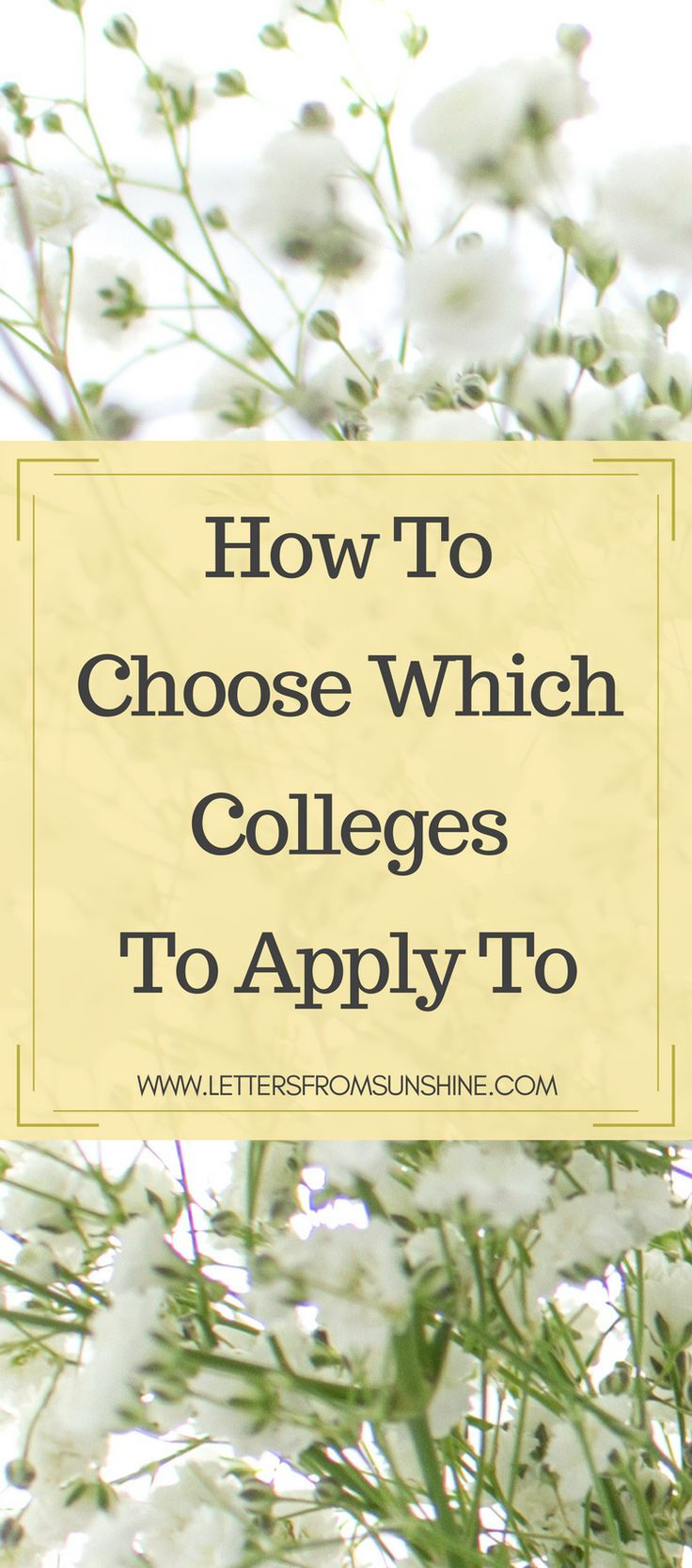Applying to college can be very overwhelming. You have different people telling you to focus on different things, making it hard to focus on what factors are truly important to you in your college search. If you're still trying to figure out what those factors are, or even what they mean then be sure to check out this post from Letters From Sunshine for some guidance on how to choose which colleges to apply to so that you can ultimately choose the college that is the perfect fit for you…
