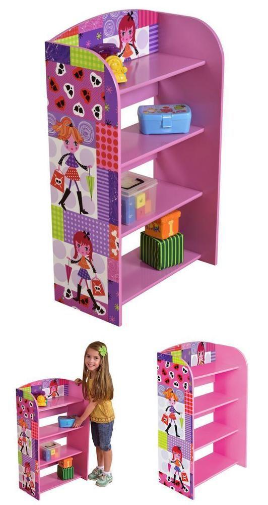 Pink Wooden Shelving Unit Kids Girls Book Shelves Case Organiser Storage Display
