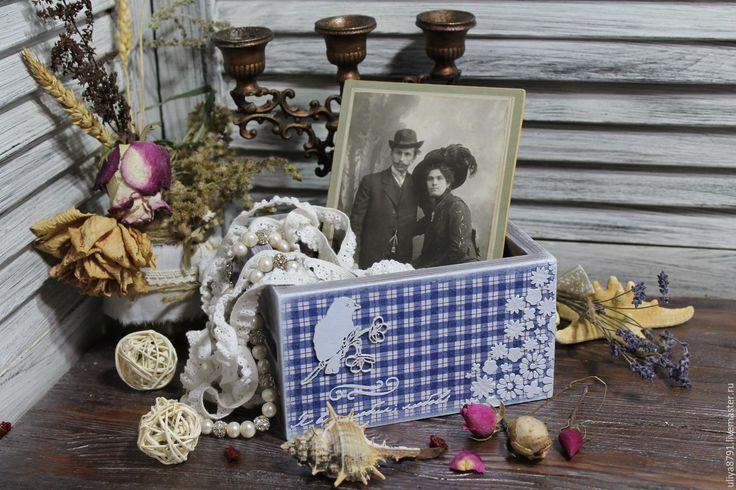 "Купить Короб для мелочей ""Романтика"" - голубой, короб декупаж, Короб для мелочей, короб для хранения"