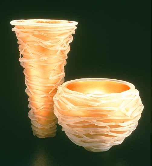 Tornado Series: Michael Cohn and Molly Stone: Art Glass Bowl & Cone - Artful Home