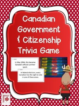 Canadian Government & Citizenship Trivia Game: Great review activity before a test or culminating project! Grades 4-7. $