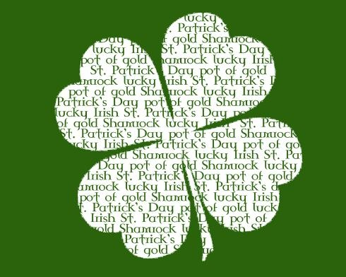word shamrock - has white background and green shamrock with white wording as well