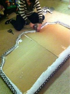 DIY cardboard headboard...finally a cheap and easier solution.                                                                                                                                                                                 More