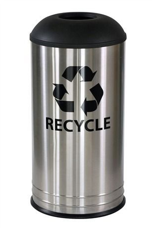 18 Gallon Stainless Steel Recycle Bin RC-1531 D-6 SS BLX BLACK TOP
