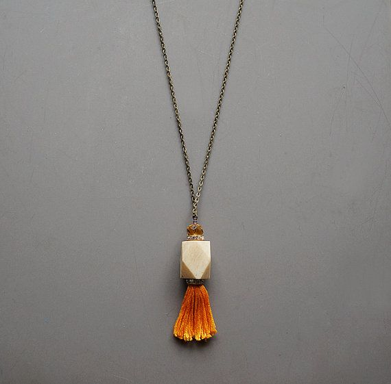 Tassel Necklace Bone Pendant Necklace Yellow Tassel by TatvaArt