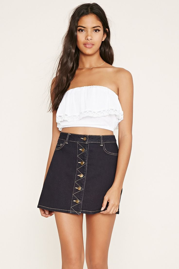 Strapless Lace-Trimmed Top