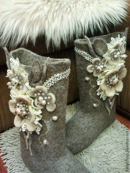 Обувь ручной работы. Ярмарка Мастеров - ручная работа. Купить Валенки с моей завалинки. Handmade. Серый, авторские валенки