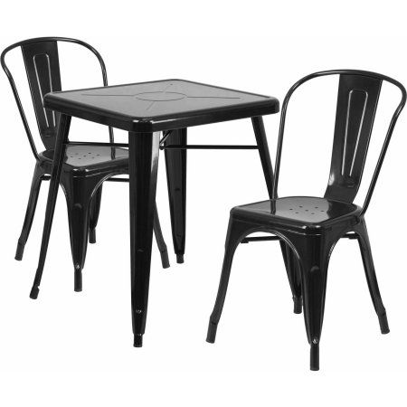 """Flash Furniture 23.75"""" Square Metal Indoor-Outdoor Table Set with 2 Stack Chairs, Multiple Colors"""