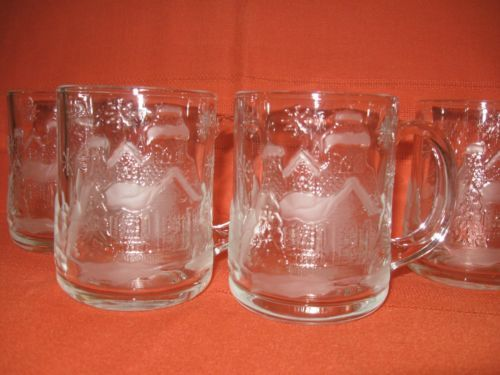 Arcoroc Clear Glass Coffee Mugs Snow Covered Cottage Christmas Lot Of 4
