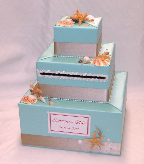 Elegant Custom Made Wedding Card Box-Beach theme