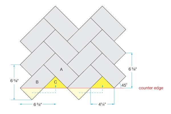 directions to do herringbone tile pattern. HINT FOR MIKE. CHEVRONS.