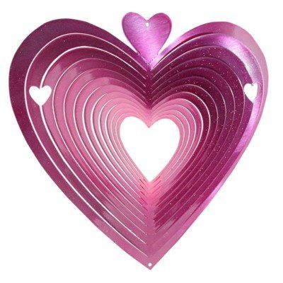 Iron Stop 1170-12-5 Classic Heart Spinner Wind Chime by Iron Stop. $22.42. Size:12', Color:Pink Classic Heart SpinnerThe Classic Heart spinner is a perfect example of understated elegance, with bold color and a fun design everyone can appreciate. This piece is crafted from 20 gauge powder coated steel for superior durability and weather resistance. A perfect choice to enhance the look of any living space, indoors or out. Made in the USA Sparkling powder coating Decorativ...