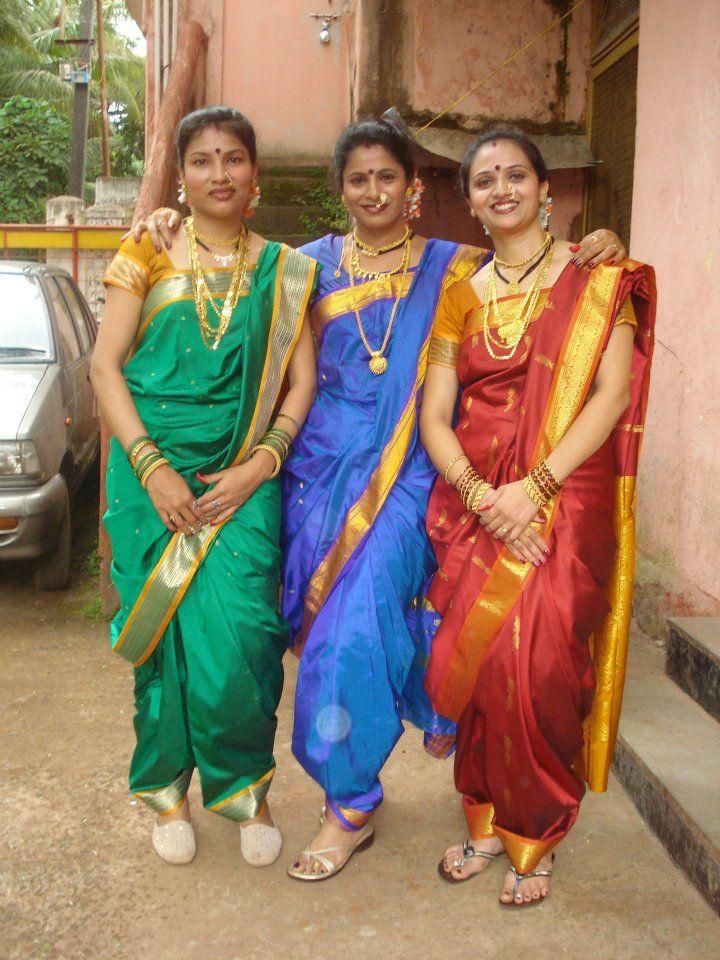 3 beauties in nauvari saree
