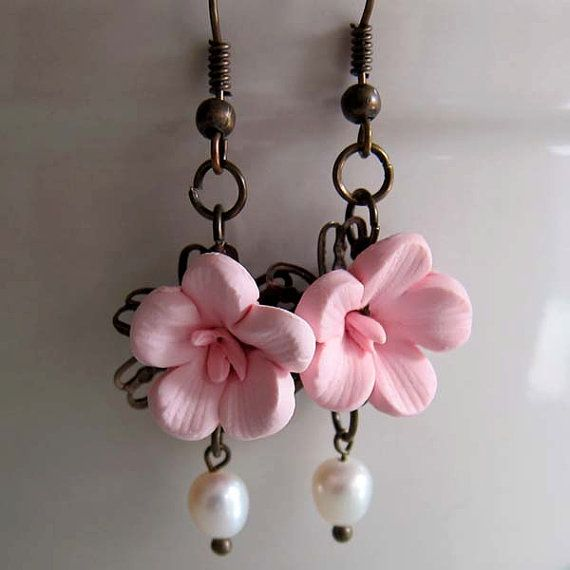 polymer clay cherry blossom earrings