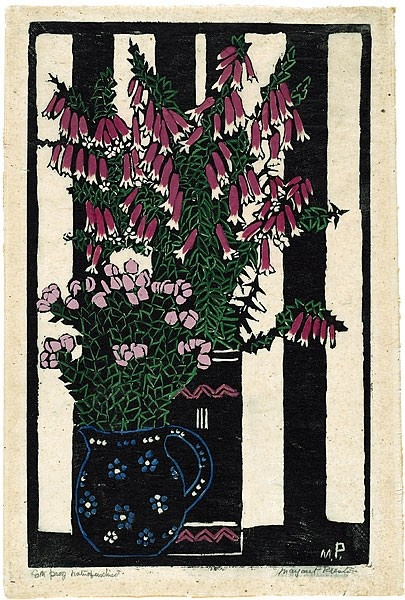 Native Fuchsia,  by Margaret Preston 1925 | Technique: woodcut, printed in black ink, from one block; hand-coloured | Copyright: © Margaret Preston.