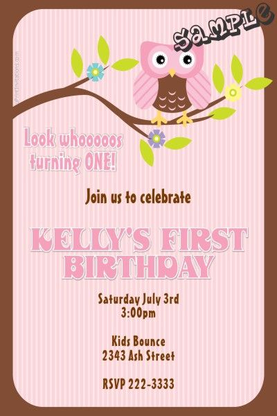 Owl Branch Birthday Invitations   Get These Invitations RIGHT NOW. Design  Yourself Online, Download